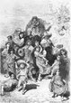 SPAIN: A family of beggars at Granada, old print, 1881